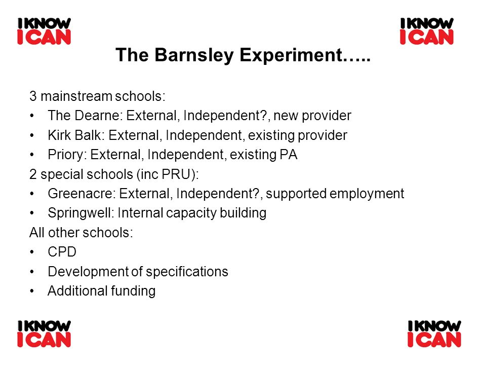 The Barnsley Experiment….. 3 mainstream schools: The Dearne: External, Independent?, new provider Kirk Balk: External, Independent, existing provider