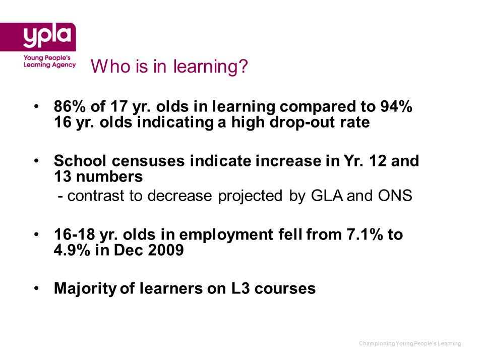 Championing Young Peoples Learning Who is not in learning.