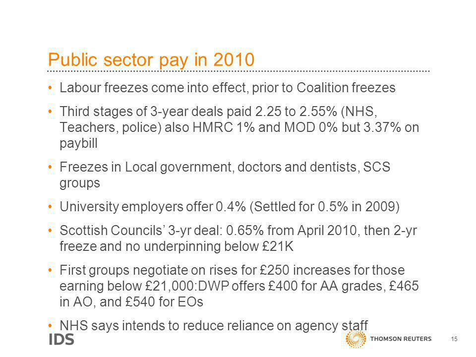 Public sector pay in 2010 Labour freezes come into effect, prior to Coalition freezes Third stages of 3-year deals paid 2.25 to 2.55% (NHS, Teachers,