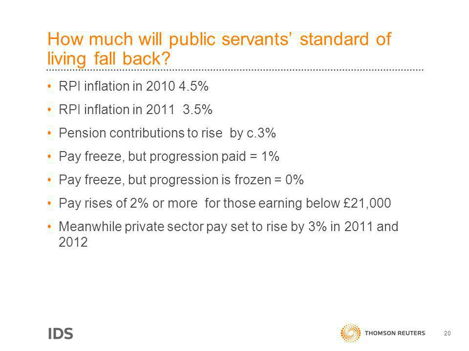 How much will public servants standard of living fall back.