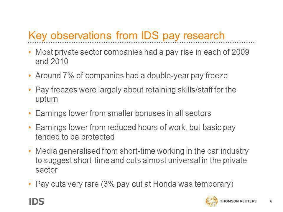 Key observations from IDS pay research Most private sector companies had a pay rise in each of 2009 and 2010 Around 7% of companies had a double-year pay freeze Pay freezes were largely about retaining skills/staff for the upturn Earnings lower from smaller bonuses in all sectors Earnings lower from reduced hours of work, but basic pay tended to be protected Media generalised from short-time working in the car industry to suggest short-time and cuts almost universal in the private sector Pay cuts very rare (3% pay cut at Honda was temporary) 6