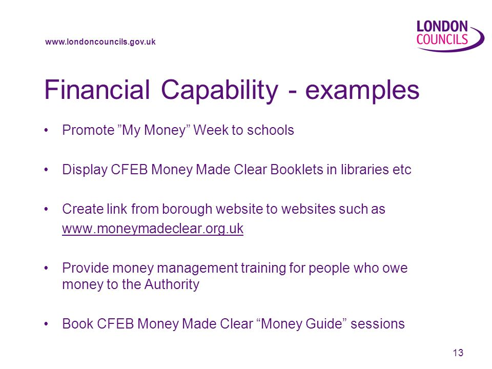 13 Financial Capability - examples Promote My Money Week to schools Display CFEB Money Made Clear Booklets in libraries etc Create link from borough website to websites such as   Provide money management training for people who owe money to the Authority Book CFEB Money Made Clear Money Guide sessions