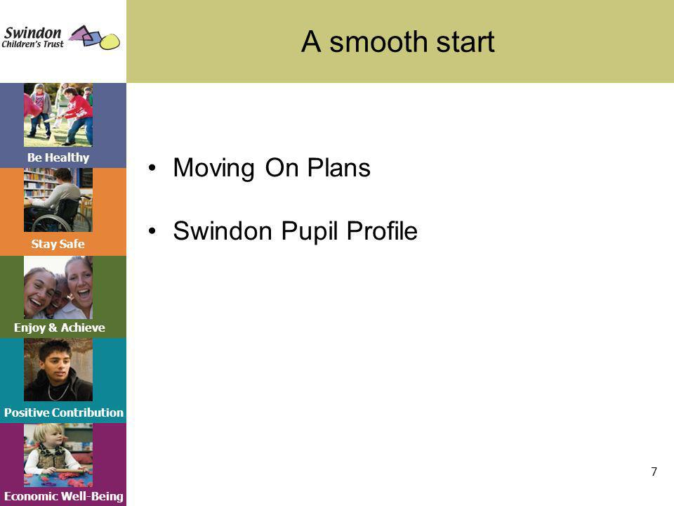 Be Healthy Stay Safe Enjoy & Achieve Positive Contribution Economic Well-Being A smooth start 7 Moving On Plans Swindon Pupil Profile