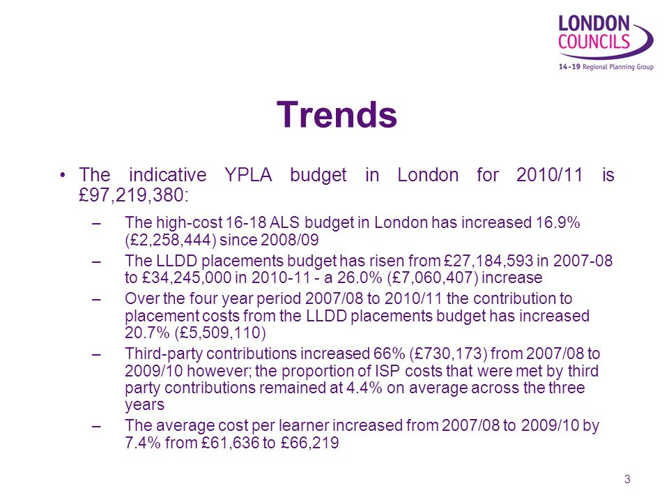 3 Trends The indicative YPLA budget in London for 2010/11 is £97,219,380: –The high-cost 16-18 ALS budget in London has increased 16.9% (£2,258,444) since 2008/09 –The LLDD placements budget has risen from £27,184,593 in 2007-08 to £34,245,000 in 2010-11 - a 26.0% (£7,060,407) increase –Over the four year period 2007/08 to 2010/11 the contribution to placement costs from the LLDD placements budget has increased 20.7% (£5,509,110) –Third-party contributions increased 66% (£730,173) from 2007/08 to 2009/10 however; the proportion of ISP costs that were met by third party contributions remained at 4.4% on average across the three years –The average cost per learner increased from 2007/08 to 2009/10 by 7.4% from £61,636 to £66,219