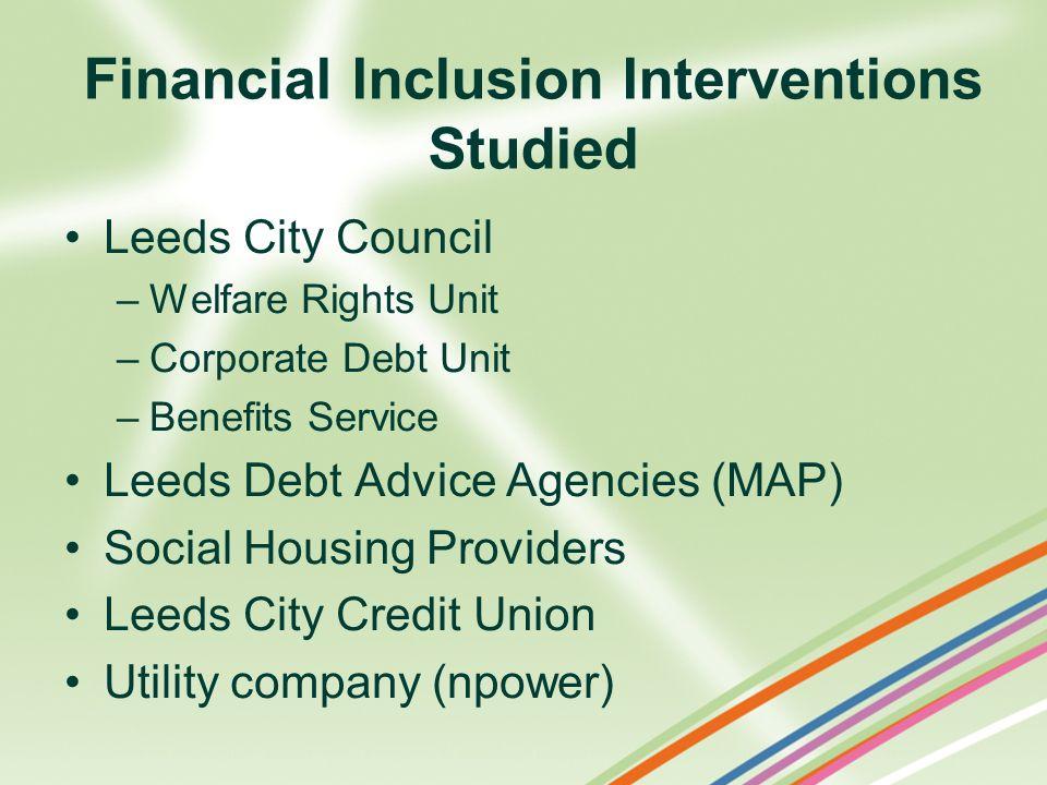 Leeds City Council –Welfare Rights Unit –Corporate Debt Unit –Benefits Service Leeds Debt Advice Agencies (MAP) Social Housing Providers Leeds City Cr