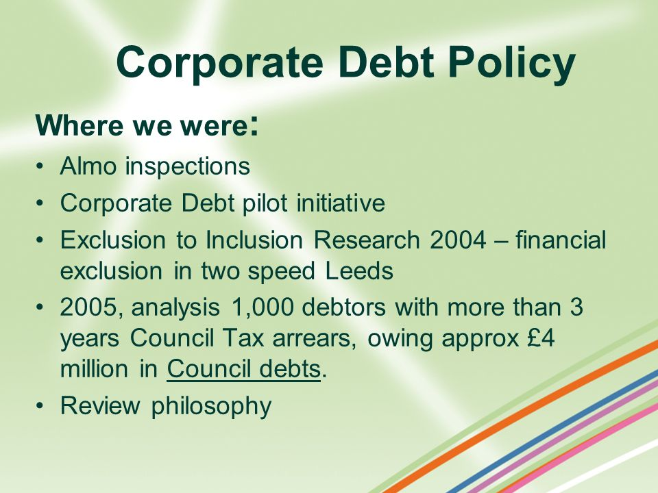 Corporate Debt Policy Where we were : Almo inspections Corporate Debt pilot initiative Exclusion to Inclusion Research 2004 – financial exclusion in t