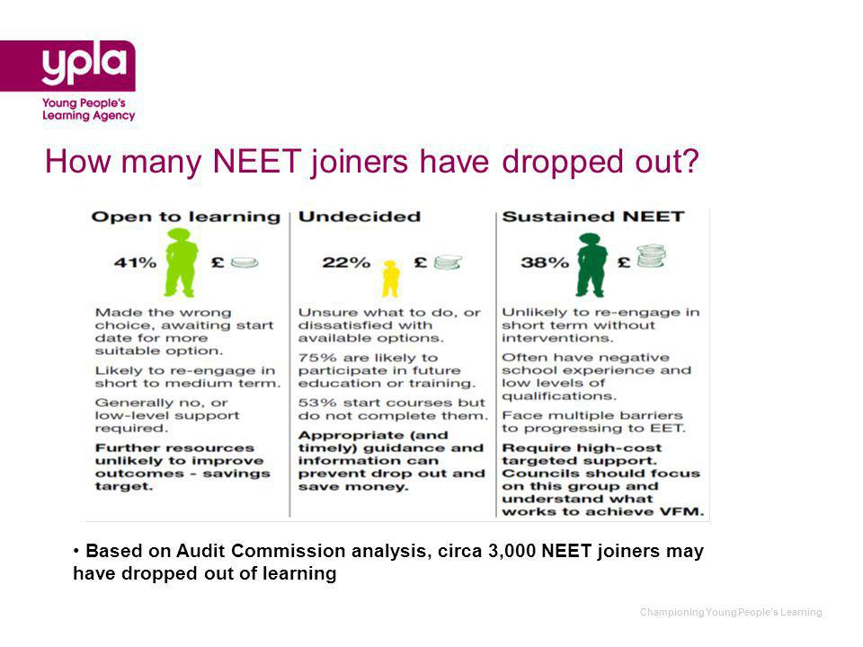 Championing Young Peoples Learning How many NEET joiners have dropped out.
