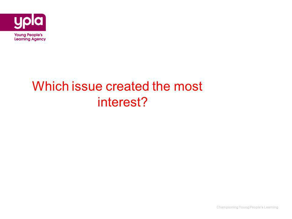 Championing Young Peoples Learning Which issue created the most interest?