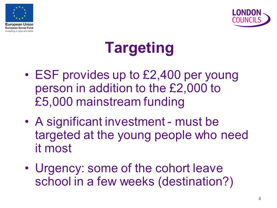 4 Targeting ESF provides up to £2,400 per young person in addition to the £2,000 to £5,000 mainstream funding A significant investment - must be targeted at the young people who need it most Urgency: some of the cohort leave school in a few weeks (destination )