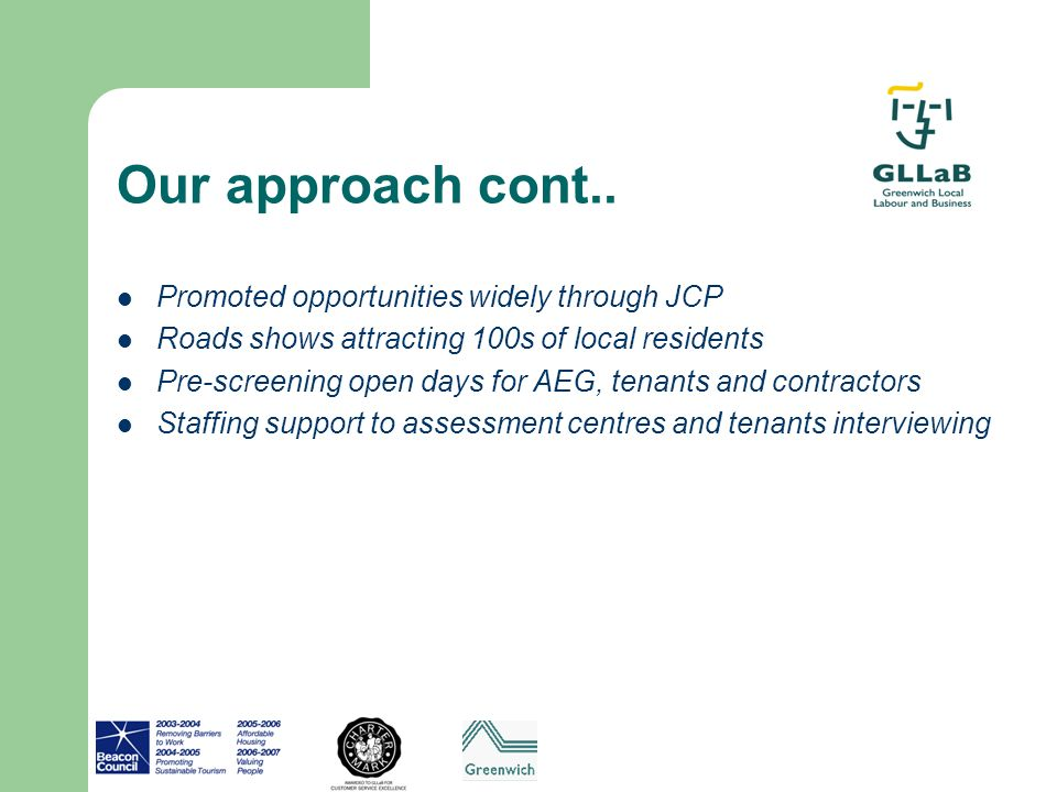 Our approach cont.. Promoted opportunities widely through JCP Roads shows attracting 100s of local residents Pre-screening open days for AEG, tenants