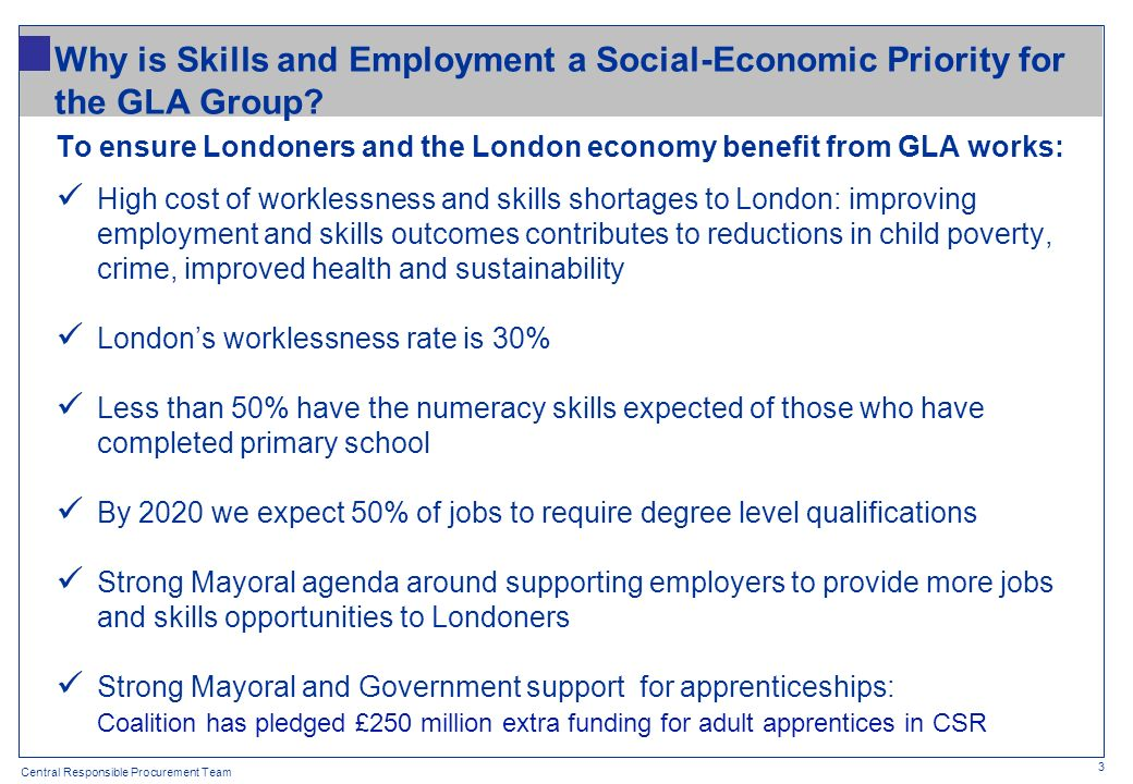 Central Responsible Procurement Team Why is Skills and Employment a Social-Economic Priority for the GLA Group? To ensure Londoners and the London eco