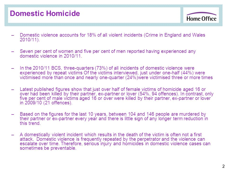 2 –Domestic violence accounts for 18% of all violent incidents (Crime in England and Wales 2010/11). –Seven per cent of women and five per cent of men