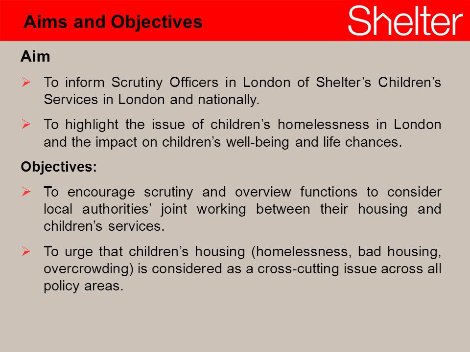 Aim To inform Scrutiny Officers in London of Shelters Childrens Services in London and nationally.