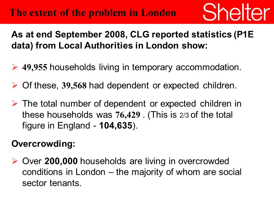 4 The extent of the problem in London As at end September 2008, CLG reported statistics (P1E data) from Local Authorities in London show: 49,955 households living in temporary accommodation.