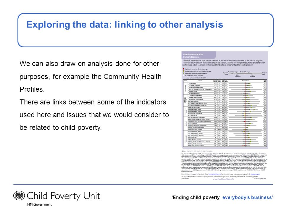 Ending child poverty everybodys business Exploring the data: linking to other analysis We can also draw on analysis done for other purposes, for examp