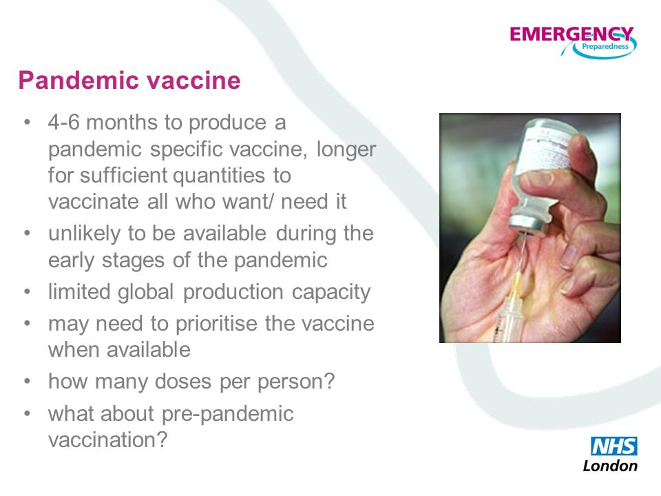 Pandemic vaccine 4-6 months to produce a pandemic specific vaccine, longer for sufficient quantities to vaccinate all who want/ need it unlikely to be