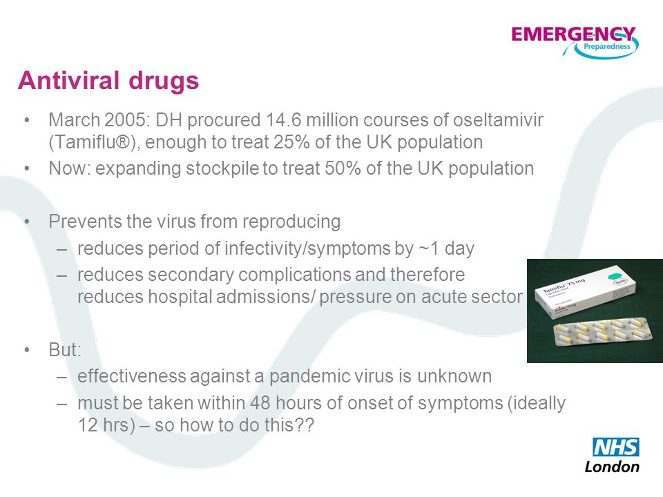 Antiviral drugs March 2005: DH procured 14.6 million courses of oseltamivir (Tamiflu®), enough to treat 25% of the UK population Now: expanding stockp