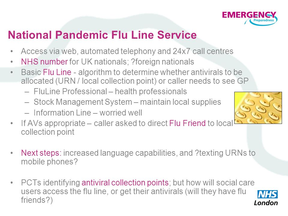National Pandemic Flu Line Service Access via web, automated telephony and 24x7 call centres NHS number for UK nationals; ?foreign nationals Basic Flu