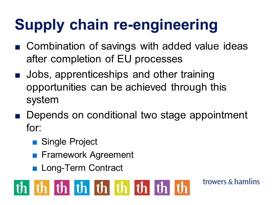 Supply chain re-engineering Combination of savings with added value ideas after completion of EU processes Jobs, apprenticeships and other training opportunities can be achieved through this system Depends on conditional two stage appointment for: Single Project Framework Agreement Long-Term Contract