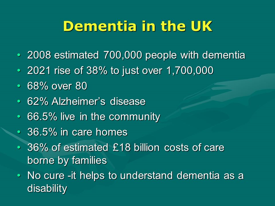 Dementia in the UK 2008 estimated 700,000 people with dementia2008 estimated 700,000 people with dementia 2021 rise of 38% to just over 1,700,0002021
