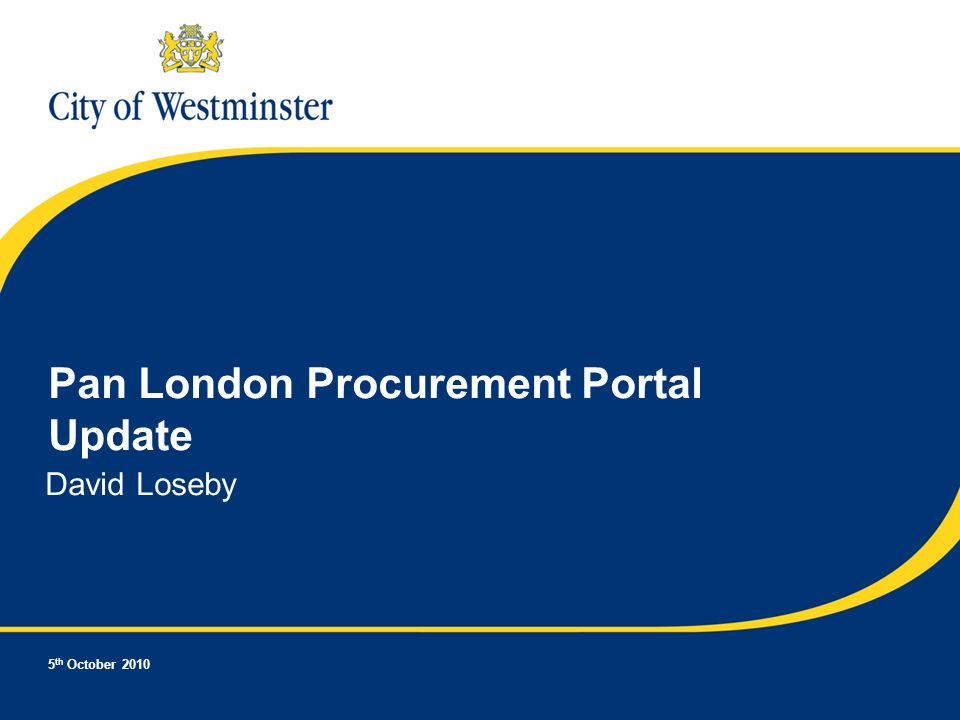 5 th October 2010 Pan London Procurement Portal Update David Loseby