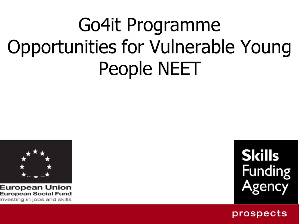 Go4it Programme – 3 year project January 2012 – December 2014 16 – 19 year old NEET Care Leavers & Teen Parents (male/female) residing in one of the 32 London Boroughs & City of London.