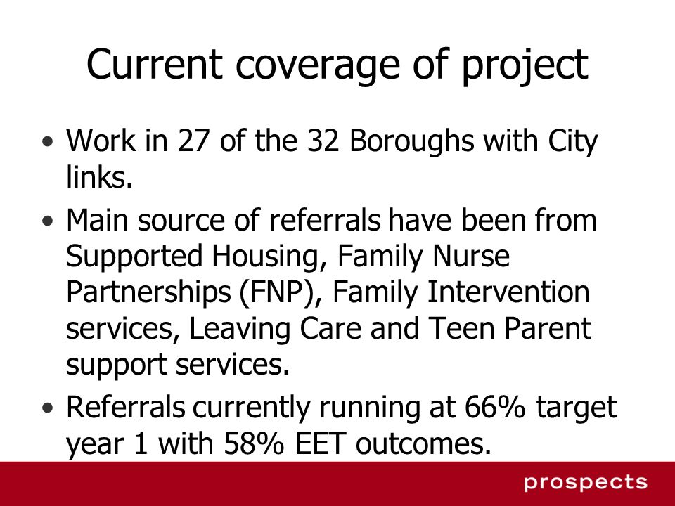 Current coverage of project Work in 27 of the 32 Boroughs with City links.