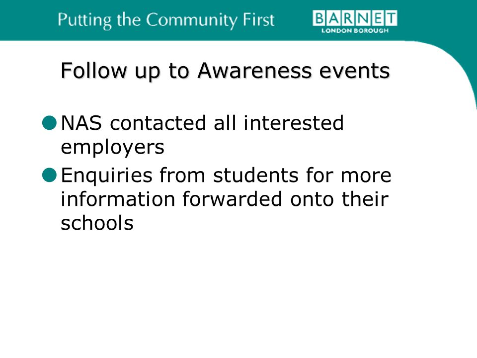 Follow up to Awareness events NAS contacted all interested employers Enquiries from students for more information forwarded onto their schools