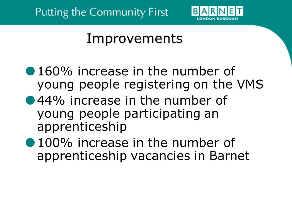 Improvements 160% increase in the number of young people registering on the VMS 44% increase in the number of young people participating an apprenticeship 100% increase in the number of apprenticeship vacancies in Barnet