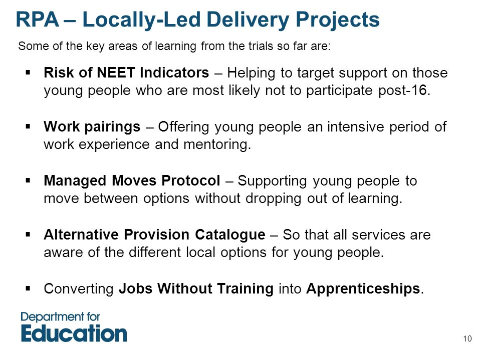 10 Risk of NEET Indicators – Helping to target support on those young people who are most likely not to participate post-16. Work pairings – Offering