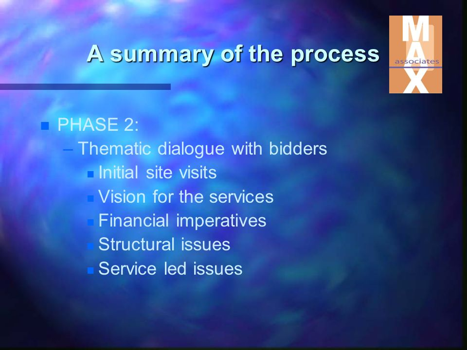 n n PHASE 2: – –Thematic dialogue with bidders n n Initial site visits n n Vision for the services n n Financial imperatives n n Structural issues n n Service led issues A summary of the process