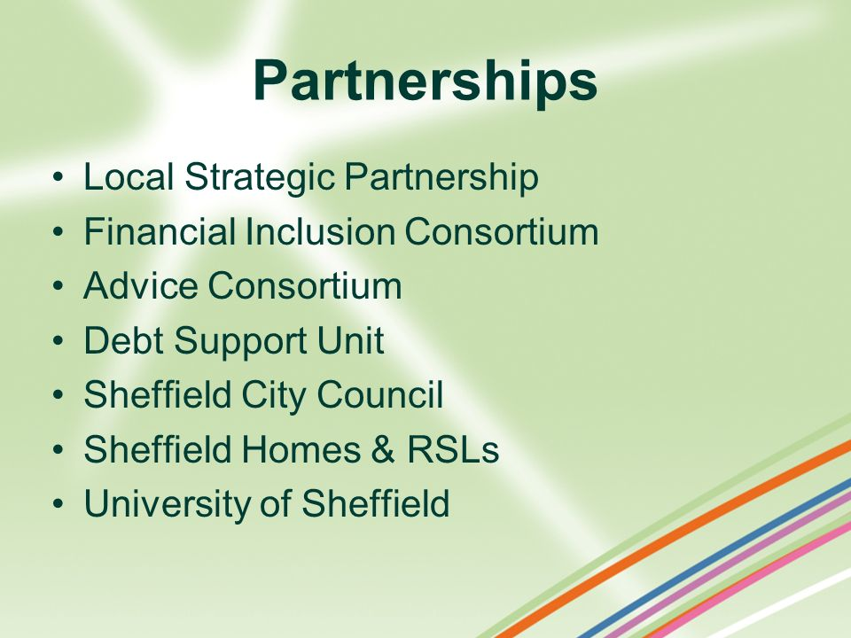 Partnerships Local Strategic Partnership Financial Inclusion Consortium Advice Consortium Debt Support Unit Sheffield City Council Sheffield Homes & R