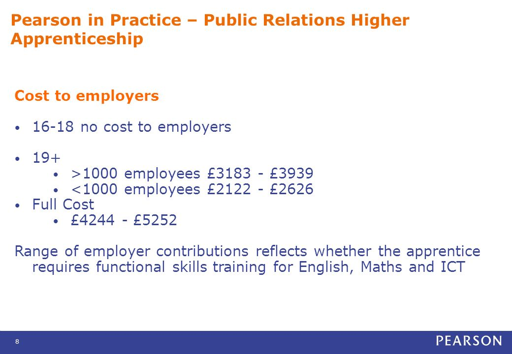 8 Pearson in Practice – Public Relations Higher Apprenticeship Cost to employers 16-18 no cost to employers 19+ >1000 employees £3183 - £3939 <1000 employees £2122 - £2626 Full Cost £4244 - £5252 Range of employer contributions reflects whether the apprentice requires functional skills training for English, Maths and ICT