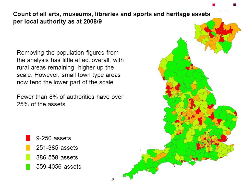 Count of all arts, museums, libraries and sports and heritage assets per local authority as at 2008/9 9-250 assets 251-385 assets 386-558 assets 559-4056 assets Removing the population figures from the analysis has little effect overall, with rural areas remaining higher up the scale.