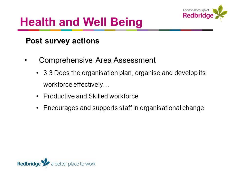 Post survey actions Comprehensive Area Assessment 3.3 Does the organisation plan, organise and develop its workforce effectively… Productive and Skilled workforce Encourages and supports staff in organisational change Health and Well Being