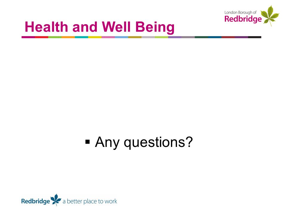 Any questions Health and Well Being