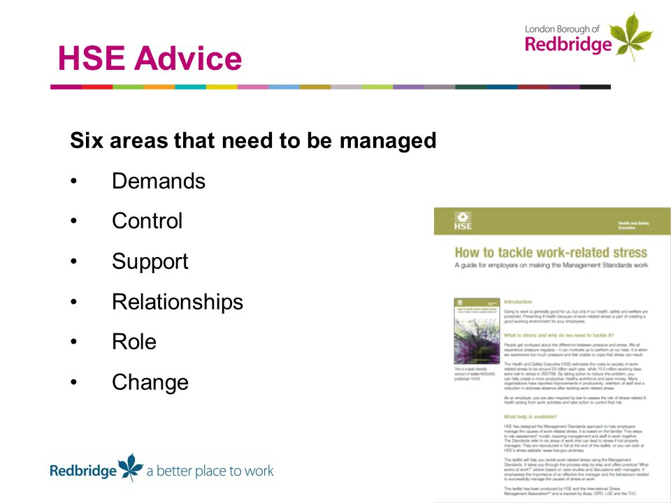 Six areas that need to be managed Demands Control Support Relationships Role Change HSE Advice