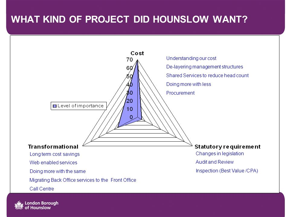 WHAT KIND OF PROJECT DID HOUNSLOW WANT.