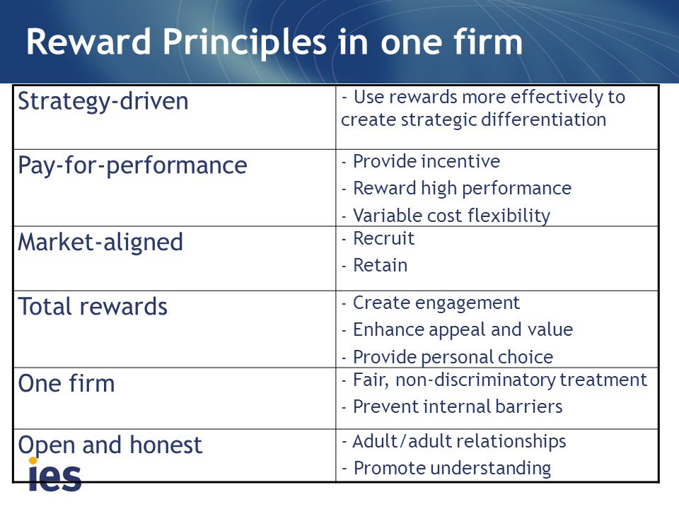 Reward Principles in one firm Strategy-driven - Use rewards more effectively to create strategic differentiation Pay-for-performance - Provide incenti