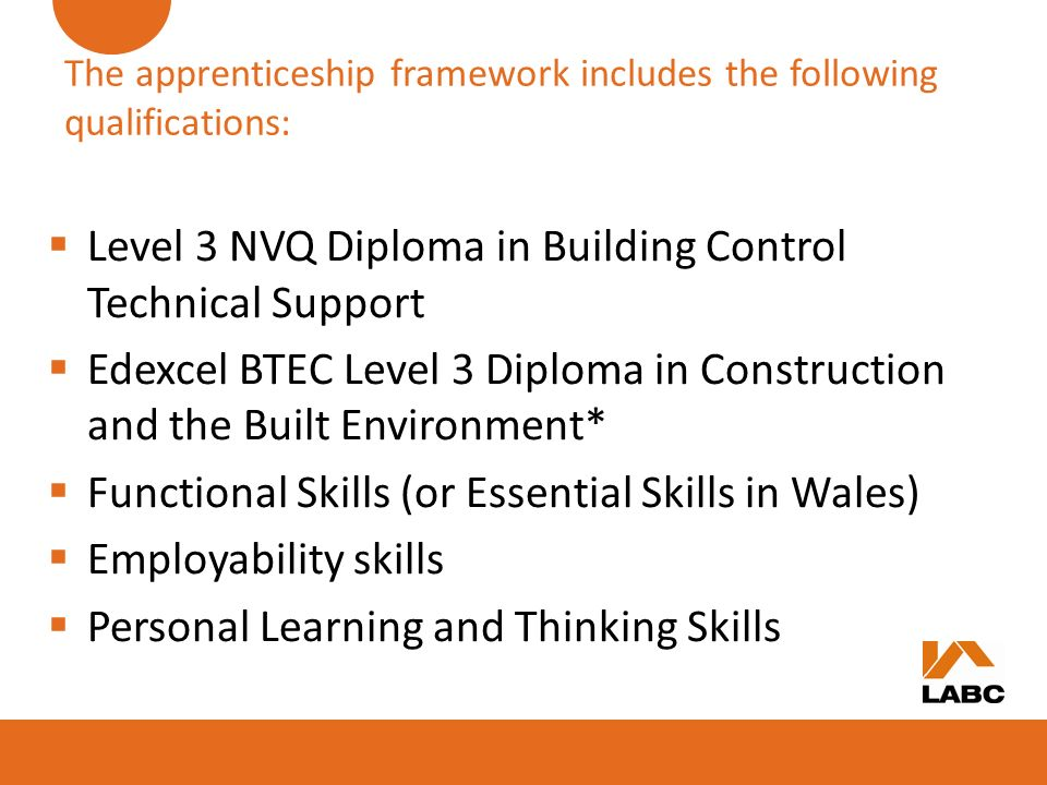 The apprenticeship framework includes the following qualifications: Level 3 NVQ Diploma in Building Control Technical Support Edexcel BTEC Level 3 Dip