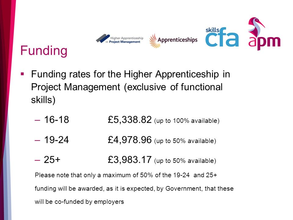 Funding Funding rates for the Higher Apprenticeship in Project Management (exclusive of functional skills) –16-18 £5,338.82 (up to 100% available) –19-24 £4,978.96 (up to 50% available) –25+ £3,983.17 (up to 50% available) Please note that only a maximum of 50% of the 19-24 and 25+ funding will be awarded, as it is expected, by Government, that these will be co-funded by employers