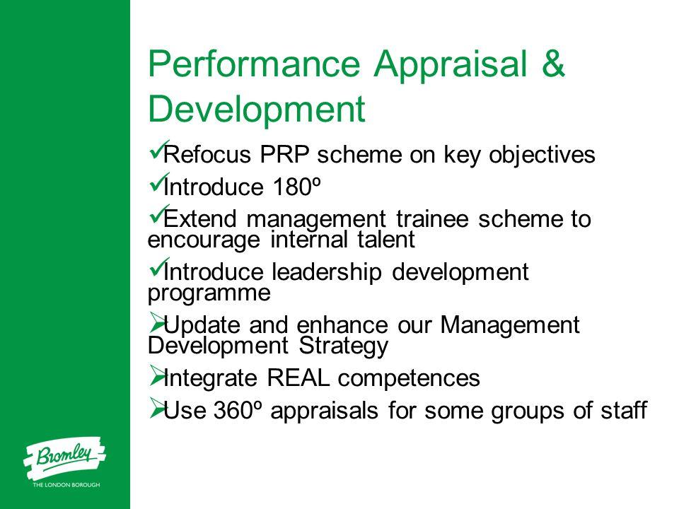 Performance Appraisal & Development Refocus PRP scheme on key objectives Introduce 180º Extend management trainee scheme to encourage internal talent