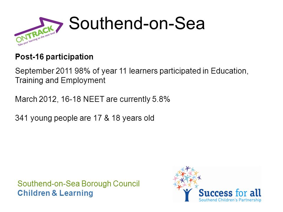 Southend-on-Sea Post-16 participation September 2011 98% of year 11 learners participated in Education, Training and Employment March 2012, 16-18 NEET are currently 5.8% 341 young people are 17 & 18 years old Southend-on-Sea Borough Council Children & Learning
