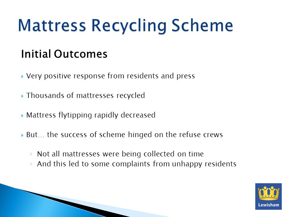 Initial Outcomes Very positive response from residents and press Thousands of mattresses recycled Mattress flytipping rapidly decreased But… the succe
