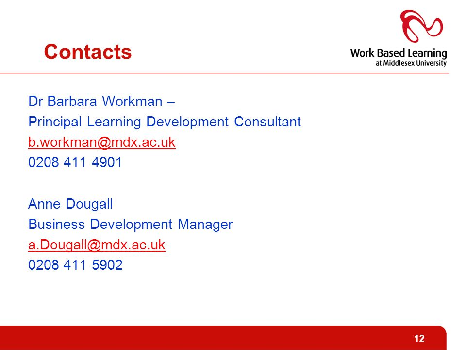 Contacts Dr Barbara Workman – Principal Learning Development Consultant Anne Dougall Business Development Manager