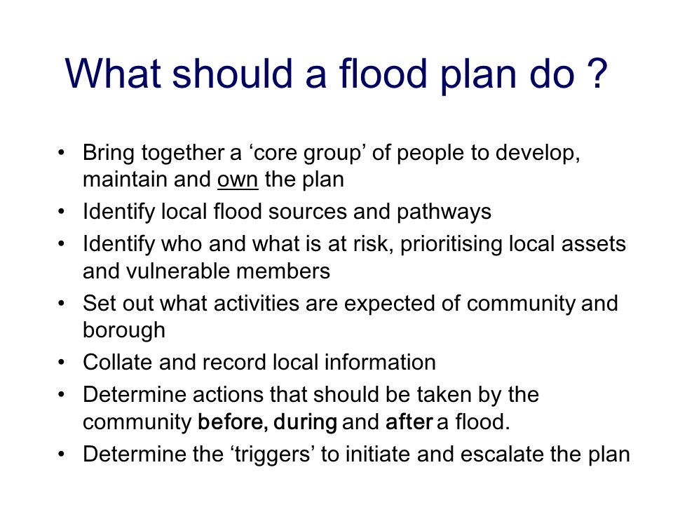 What should a flood plan do .