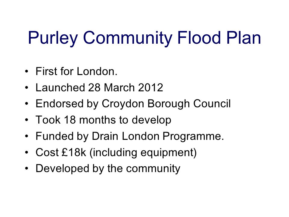Purley Community Flood Plan First for London.