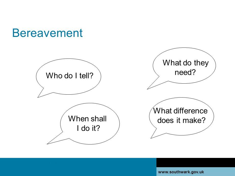 www.southwark.gov.uk Bereavement Secondary information Who do I tell.