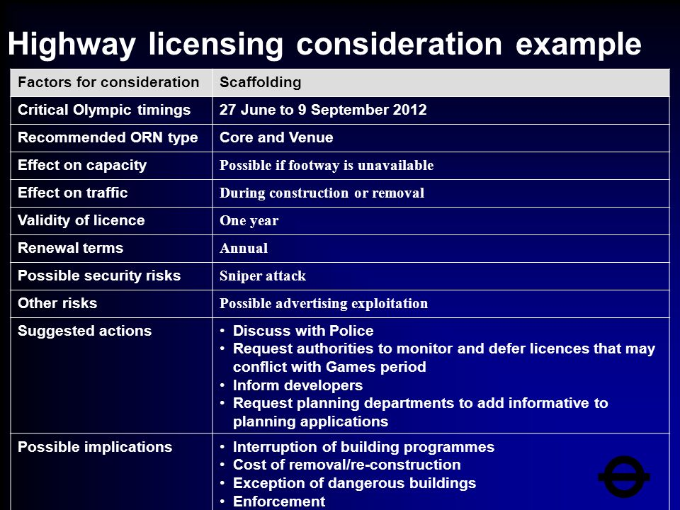 Highway licensing consideration example Factors for considerationScaffolding Critical Olympic timings27 June to 9 September 2012 Recommended ORN typeCore and Venue Effect on capacity Possible if footway is unavailable Effect on traffic During construction or removal Validity of licence One year Renewal terms Annual Possible security risks Sniper attack Other risks Possible advertising exploitation Suggested actionsDiscuss with Police Request authorities to monitor and defer licences that may conflict with Games period Inform developers Request planning departments to add informative to planning applications Possible implicationsInterruption of building programmes Cost of removal/re-construction Exception of dangerous buildings Enforcement