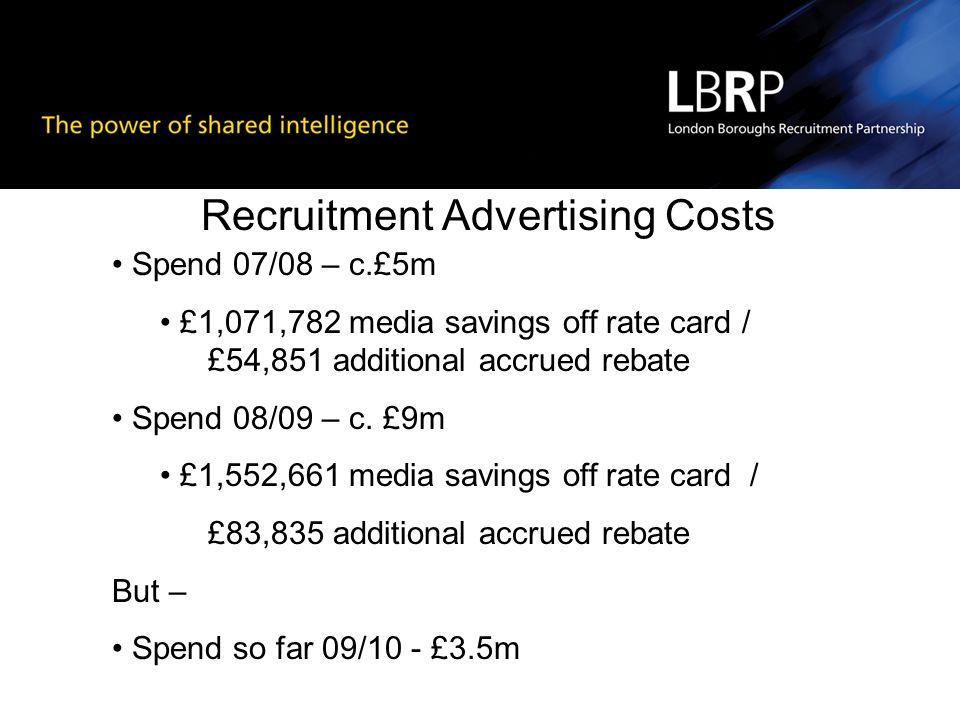 Recruitment Advertising Costs Spend 07/08 – c.£5m £1,071,782 media savings off rate card / £54,851 additional accrued rebate Spend 08/09 – c.